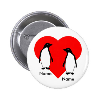 Penguin Love Couple Button 2 Inch Round Button