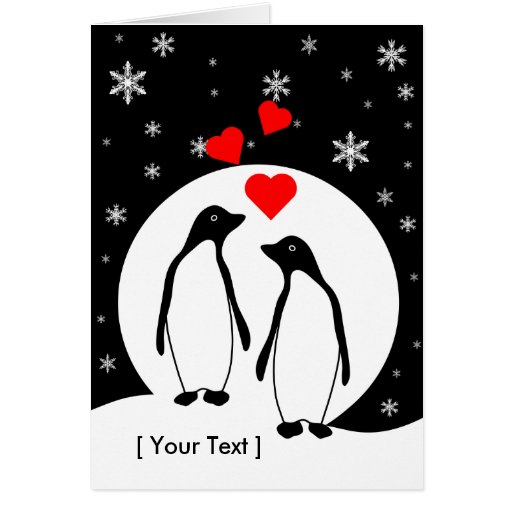 Penguin love couple greeting card zazzle for Penguin christmas cards homemade