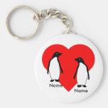 Penguin Love Couple Keychain Basic Round Button Keychain