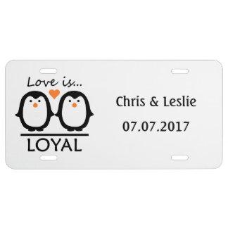 Penguin Love custom license plate