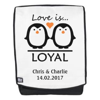 Penguin Love custom names & date backpack