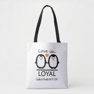 Penguin Love custom names & date bags