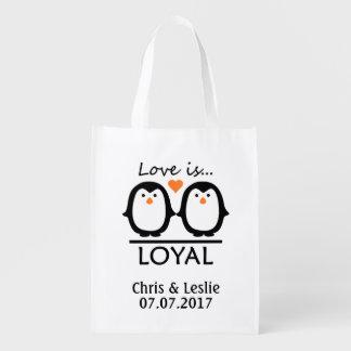 Penguin Love custom names & date reusable bag
