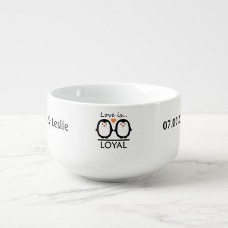 Penguin Love custom soup mug
