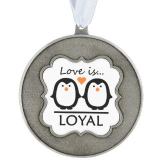 Penguin Love decoration Pewter Ornament