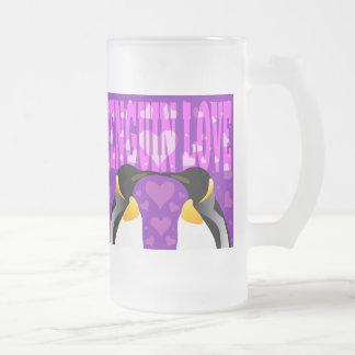Penguin Love! Frosted Glass Beer Mug