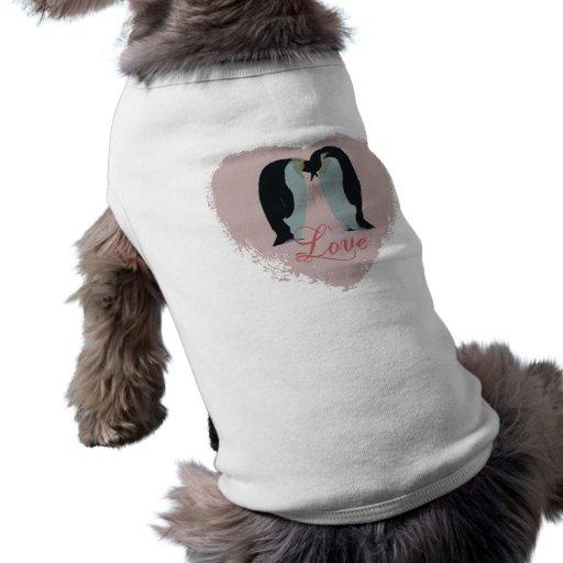 Penguin Love Heart Dog Shirt