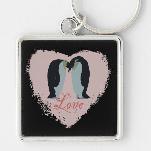 Penguin Love Heart Keychain