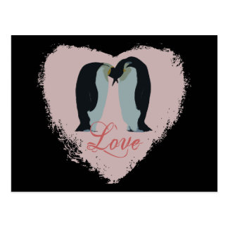 Penguin Love Heart Postcard