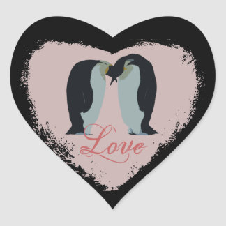 Penguin Love Heart Stickers