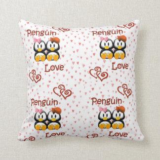 Penguin Love Hearts Throw Pillow