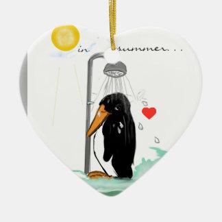 Penguin love ornamentation Double-Sided heart ceramic christmas ornament