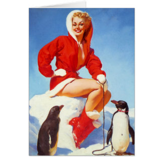 Penguin Love Pin-Up Greeting Card