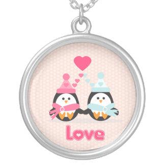Penguin Love Round Pendant Necklace