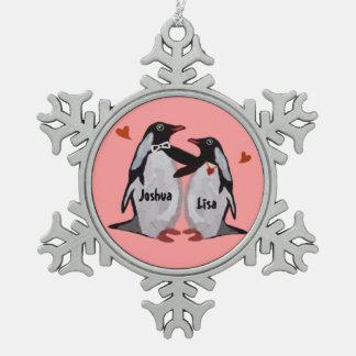 Penguin Love Snowflake Ornament