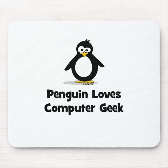 Penguin Loves Computer Geek Mouse Pad