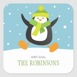 Penguin Loves Snow | Square Holiday Gift Stickers