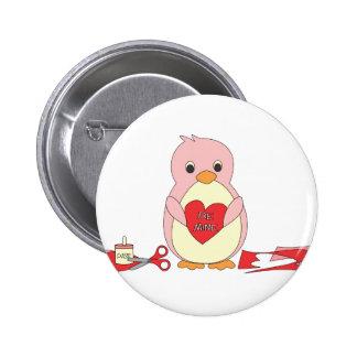 Penguin Making Valentines 2 Inch Round Button