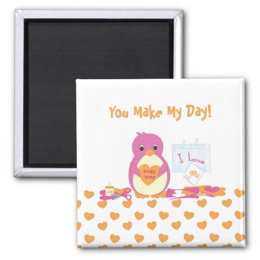 Penguin Making Valentines 2 Inch Square Magnet