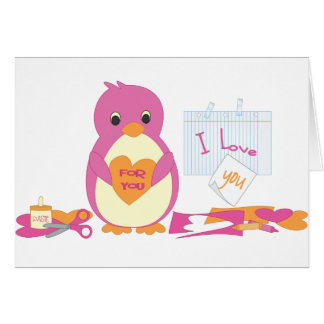 Penguin Making Valentines Greeting Card