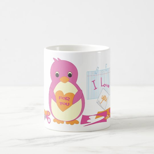 Penguin Making Valentines Coffee Mug