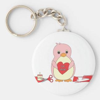 Penguin Making Valentines Basic Round Button Keychain