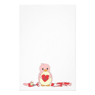 Penguin Making Valentines Stationery Design