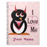 Penguin™ malvado I me ama Cuaderno