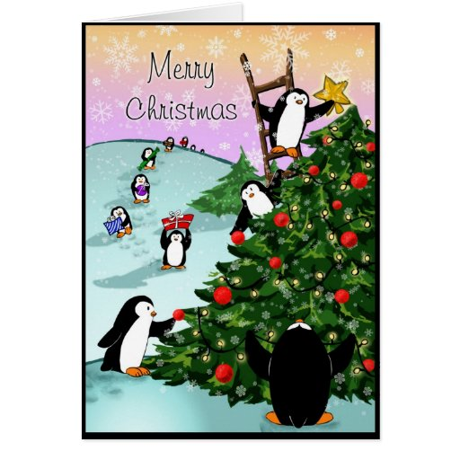 Penguin merry christmas greeting card zazzle for Penguin christmas cards homemade