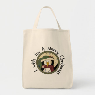 Penguin Merry Christmas T-shirts and Gifts Grocery Tote Bag