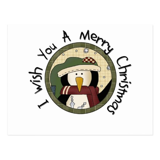 Penguin Merry Christmas T-shirts and Gifts Post Cards