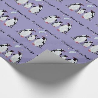 Penguin Moon Seasons Greetings Gift Wrap