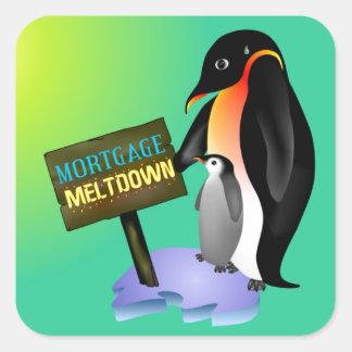 Penguin Mortgage Meltdown Square Stickers