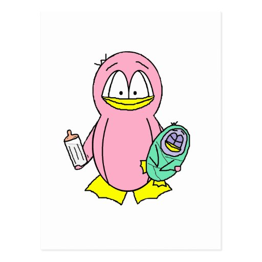 Penguin Mother Holding Baby and Bottle Postcard
