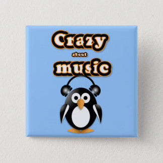 Penguin music fan button