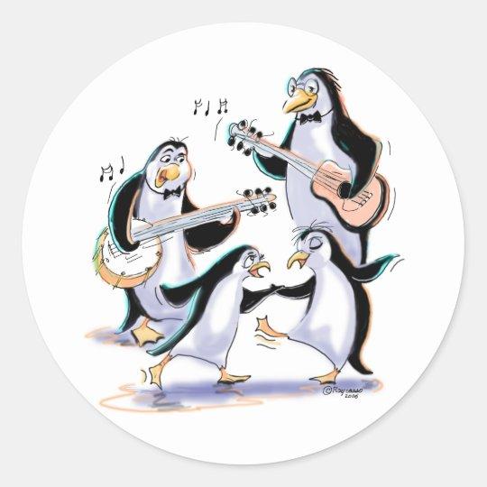 penguin musicans classic round sticker