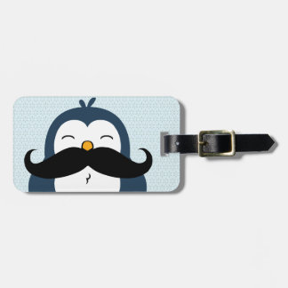 Penguin Mustache Trend Personalized Bag Tag