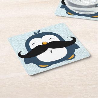 Penguin Mustache Trend Square Paper Coaster