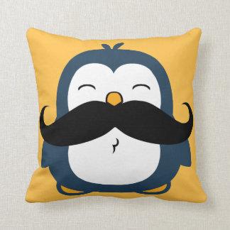 Penguin Mustache Trend Throw Pillow