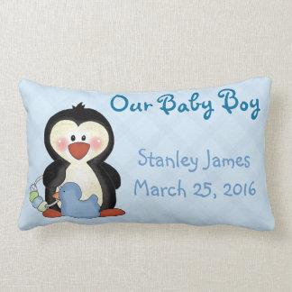 Penguin New Baby Boy Pillow