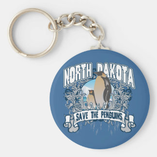Penguin North Dakota Basic Round Button Keychain