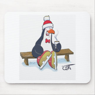 Penguin On Bench with a Hot Chocolate Mousepads