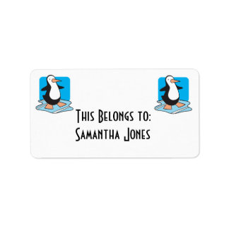 penguin on ice label