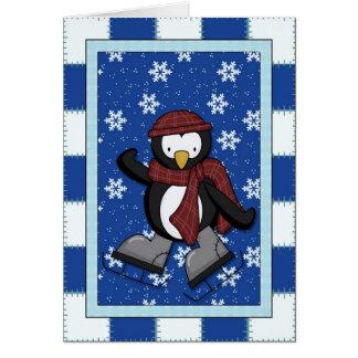Penguin on Ice Skates Greeting Card
