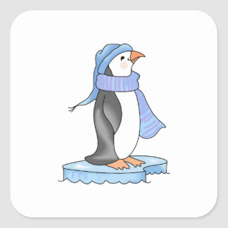 PENGUIN ON ICE SQUARE STICKER