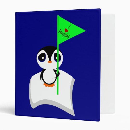 Penguin On Iceberg Holding I Heart Penguins Sign 3 Ring Binder