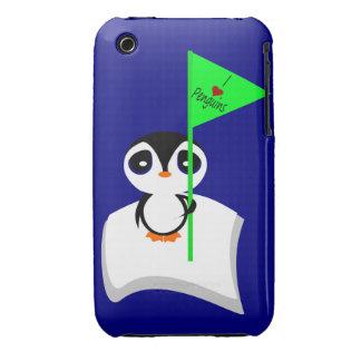 Penguin On Iceberg Holding I Heart Penguins Sign Case-Mate iPhone 3 Case