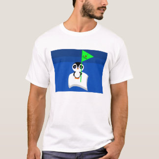 Penguin On Iceberg Holding I Heart Penguins Sign T-Shirt