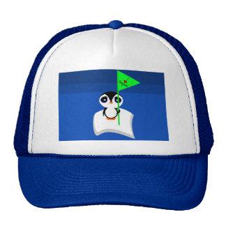 Penguin On Iceberg Holding I Heart Penguins Sign Trucker Hat