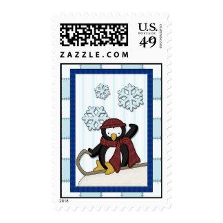 Penguin on Sled Stamp